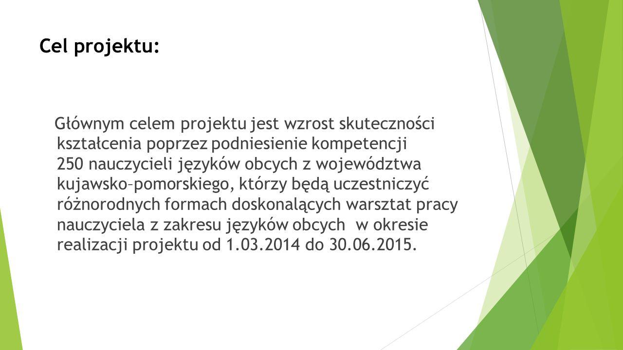 Cel projektu: Głównym celem projektu jest wzrost skuteczności kształcenia poprzez podniesienie kompetencji 250 nauczycieli języków obcych z województw