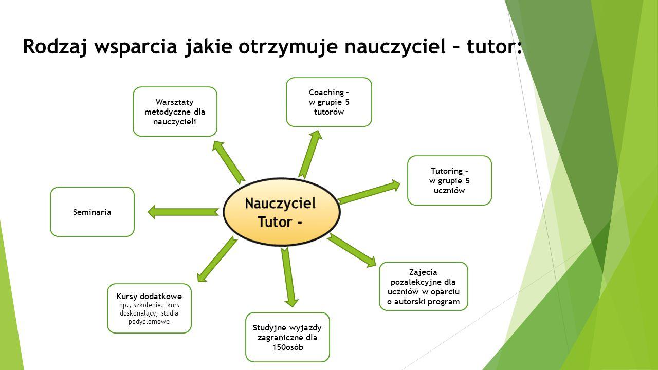 Rodzaj wsparcia jakie otrzymuje nauczyciel – tutor: Coaching – w grupie 5 tutorów Tutoring – w grupie 5 uczniów Warsztaty metodyczne dla nauczycieli S