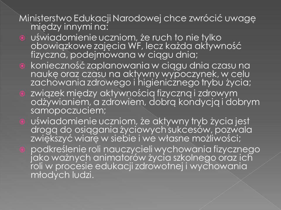 Ministerstwo Edukacji Narodowej chce zwrócić uwagę między innymi na:  uświadomienie uczniom, że ruch to nie tylko obowiązkowe zajęcia WF, lecz każda