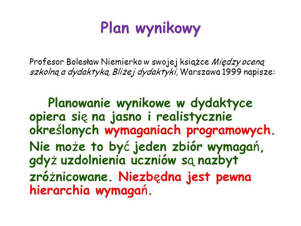 Plan wynikowy Profesor Bolesław Niemierko w swojej książce Między oceną szkolną a dydaktyką.