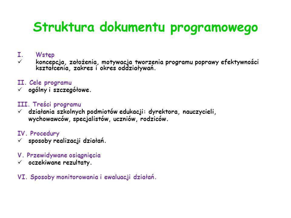 Struktura dokumentu programowego I.Wstęp koncepcja, założenia, motywacja tworzenia programu poprawy efektywności kształcenia, zakres i okres oddziaływań.