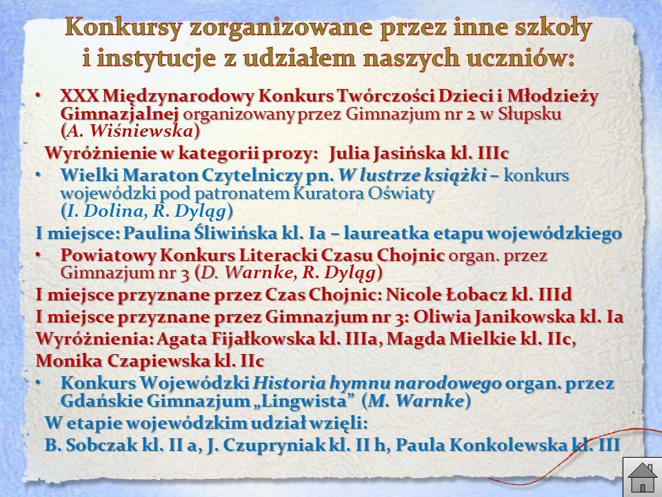 XXX Międzynarodowy Konkurs Twórczości Dzieci i Młodzieży Gimnazjalnej organizowany przez Gimnazjum nr 2 w Słupsku ()XXX Międzynarodowy Konkurs Twórczości Dzieci i Młodzieży Gimnazjalnej organizowany przez Gimnazjum nr 2 w Słupsku (A.