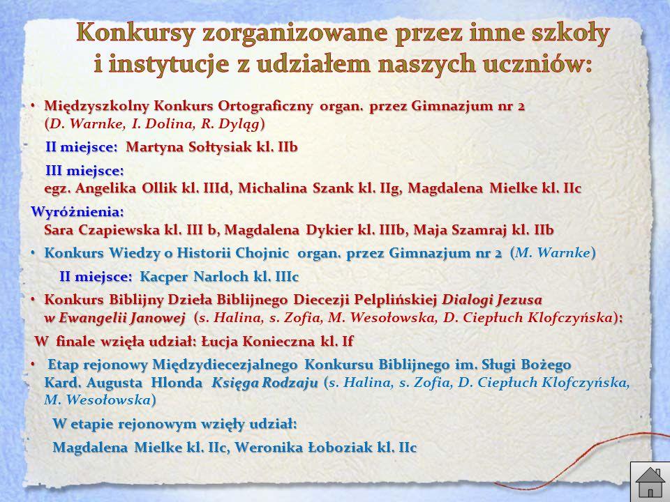 Międzyszkolny Konkurs Ortograficzny organ.