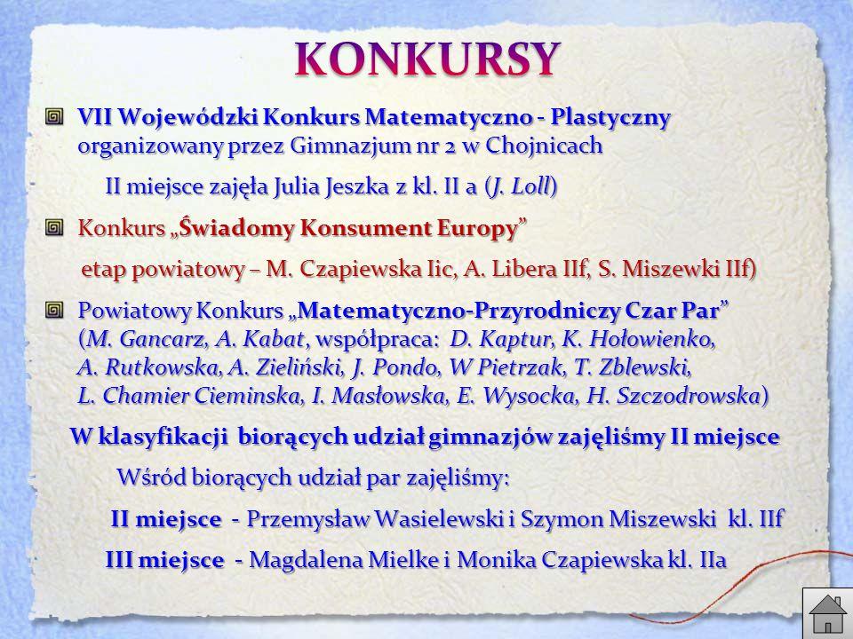VII Wojewódzki Konkurs Matematyczno - Plastyczny organizowany przez Gimnazjum nr 2 w Chojnicach VII Wojewódzki Konkurs Matematyczno - Plastyczny organizowany przez Gimnazjum nr 2 w Chojnicach II miejsce zajęła Julia Jeszka z kl.