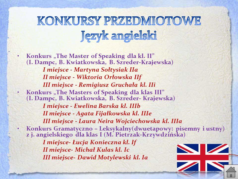 """Konkurs """"The Master of Speaking dla kl.II (I. Dampc, B."""