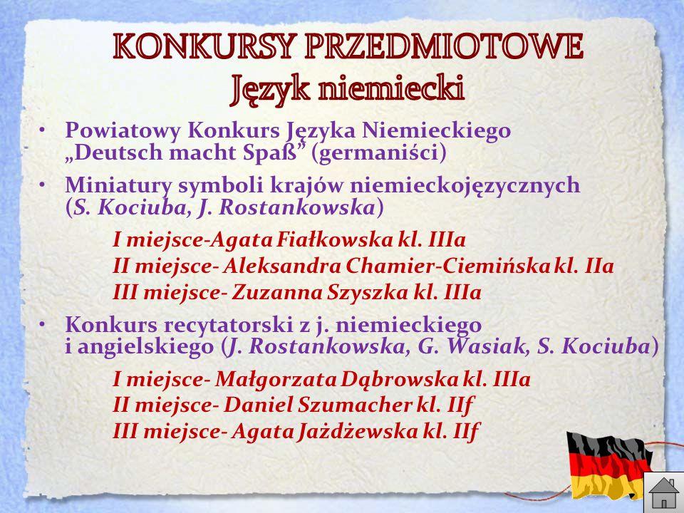 """Powiatowy Konkurs Języka Niemieckiego """"Deutsch macht Spaß (germaniści) Miniatury symboli krajów niemieckojęzycznych (S."""