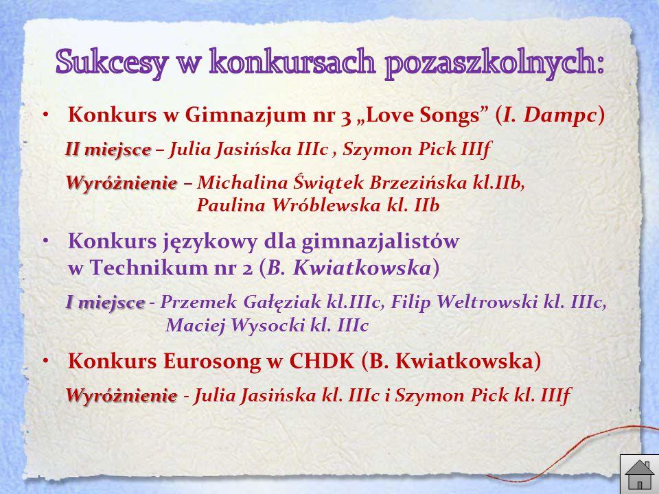 "Konkurs w Gimnazjum nr 3 ""Love Songs (I."