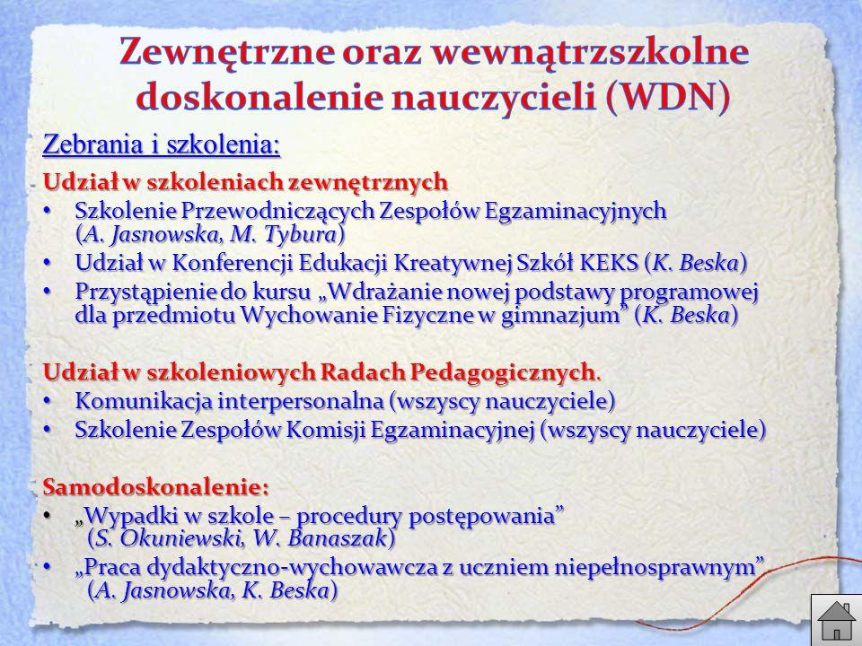 Zebrania i szkolenia: Udział w szkoleniach zewnętrznych Szkolenie Przewodniczących Zespołów Egzaminacyjnych (A.