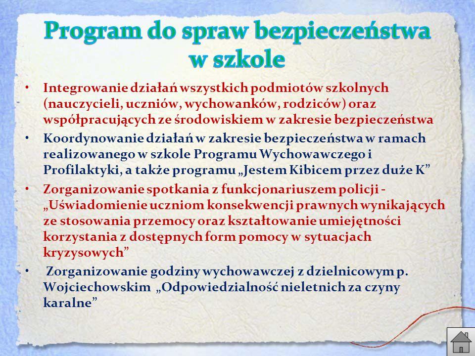 """Integrowanie działań wszystkich podmiotów szkolnych (nauczycieli, uczniów, wychowanków, rodziców) oraz współpracujących ze środowiskiem w zakresie bezpieczeństwa Koordynowanie działań w zakresie bezpieczeństwa w ramach realizowanego w szkole Programu Wychowawczego i Profilaktyki, a także programu """"Jestem Kibicem przez duże K Zorganizowanie spotkania z funkcjonariuszem policji - """"Uświadomienie uczniom konsekwencji prawnych wynikających ze stosowania przemocy oraz kształtowanie umiejętności korzystania z dostępnych form pomocy w sytuacjach kryzysowych Zorganizowanie godziny wychowawczej z dzielnicowym p."""