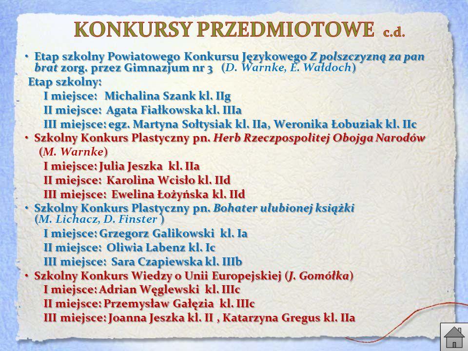 Etap szkolny Powiatowego Konkursu Językowego Z polszczyzną za pan brat zorg.