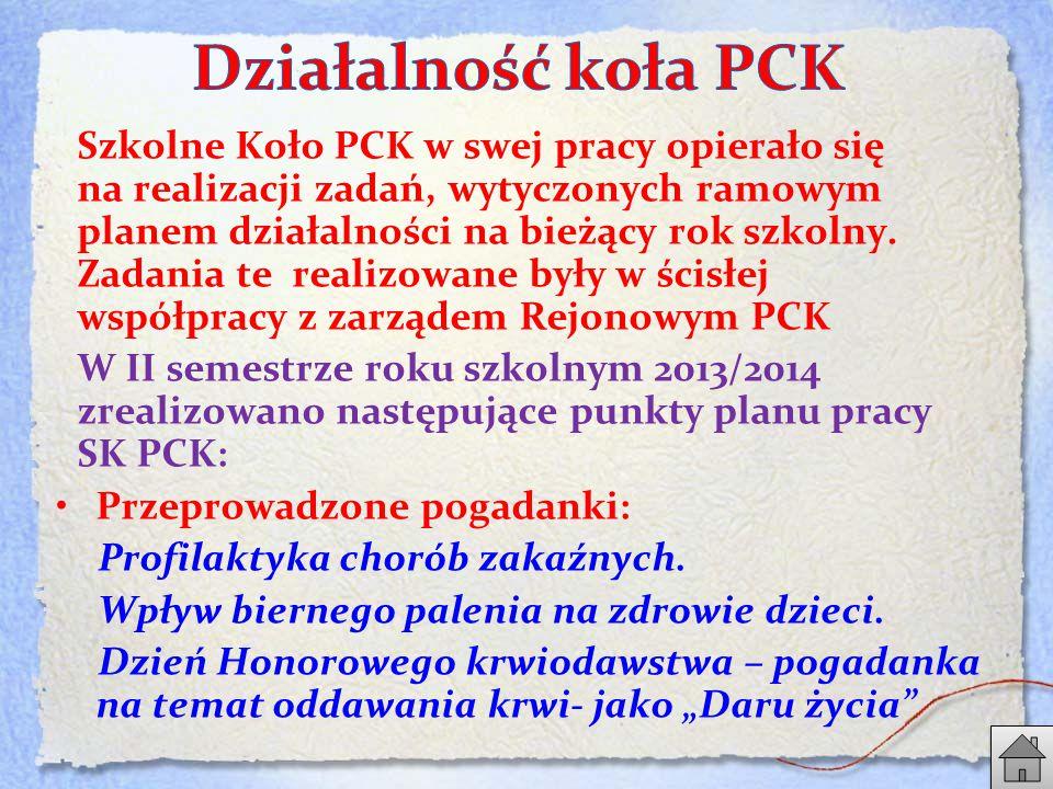 Szkolne Koło PCK w swej pracy opierało się na realizacji zadań, wytyczonych ramowym planem działalności na bieżący rok szkolny.