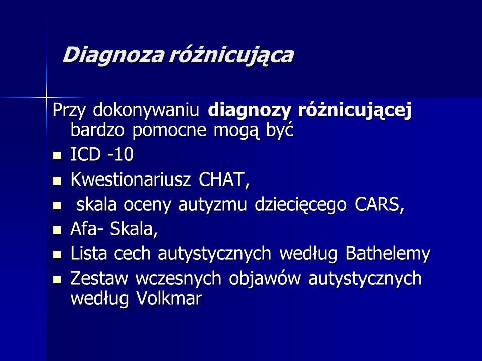 Diagnoza różnicująca Przy dokonywaniu diagnozy różnicującej bardzo pomocne mogą być ICD -10 ICD -10 Kwestionariusz CHAT, Kwestionariusz CHAT, skala oceny autyzmu dziecięcego CARS, skala oceny autyzmu dziecięcego CARS, Afa- Skala, Afa- Skala, Lista cech autystycznych według Bathelemy Lista cech autystycznych według Bathelemy Zestaw wczesnych objawów autystycznych według Volkmar Zestaw wczesnych objawów autystycznych według Volkmar