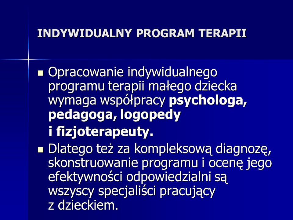 INDYWIDUALNY PROGRAM TERAPII Opracowanie indywidualnego programu terapii małego dziecka wymaga współpracy psychologa, pedagoga, logopedy Opracowanie indywidualnego programu terapii małego dziecka wymaga współpracy psychologa, pedagoga, logopedy i fizjoterapeuty.