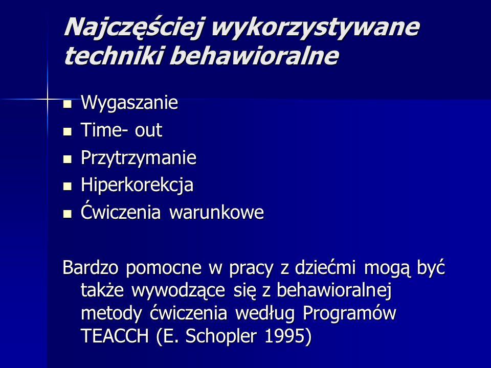 Najczęściej wykorzystywane techniki behawioralne Wygaszanie Wygaszanie Time- out Time- out Przytrzymanie Przytrzymanie Hiperkorekcja Hiperkorekcja Ćwiczenia warunkowe Ćwiczenia warunkowe Bardzo pomocne w pracy z dziećmi mogą być także wywodzące się z behawioralnej metody ćwiczenia według Programów TEACCH (E.