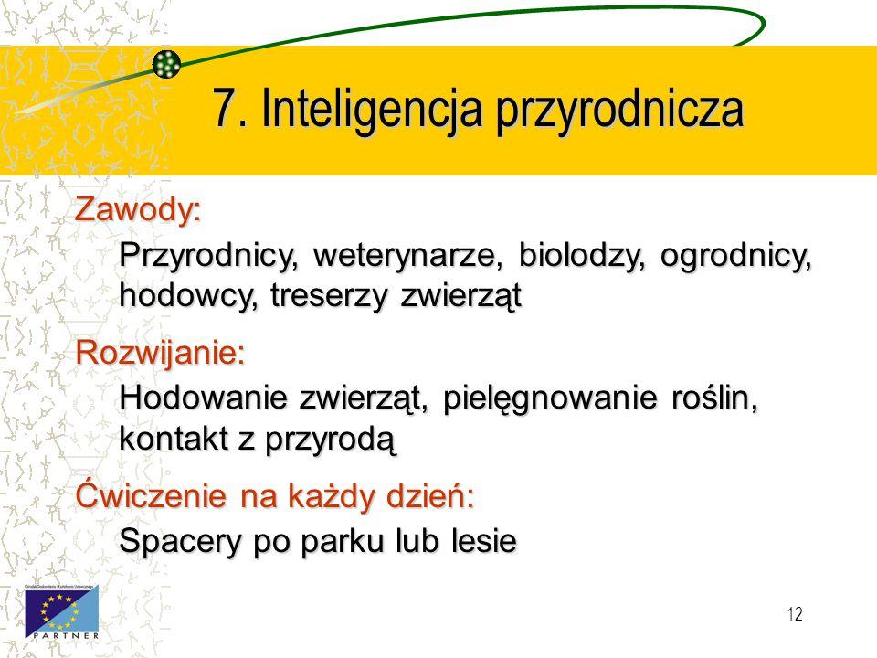 11 6. Inteligencja intrapersonalna (osobista) Zawody: Poeci, nauczyciele, przywódcy Rozwijanie: Rozmowy o uczuciach, rozpoznawanie emocji, odpowiedzia