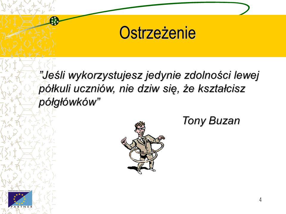 4 Ostrzeżenie Jeśli wykorzystujesz jedynie zdolności lewej półkuli uczniów, nie dziw się, że kształcisz półgłówków Tony Buzan