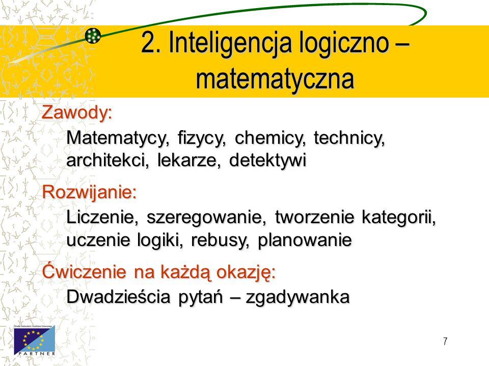 6 1. Inteligencja językowa Zawody: Pisarze, poeci, dziennikarze, prawnicy, aktorzy, prezenterzy Rozwijanie: Czytanie, pisanie, występowanie publiczne,