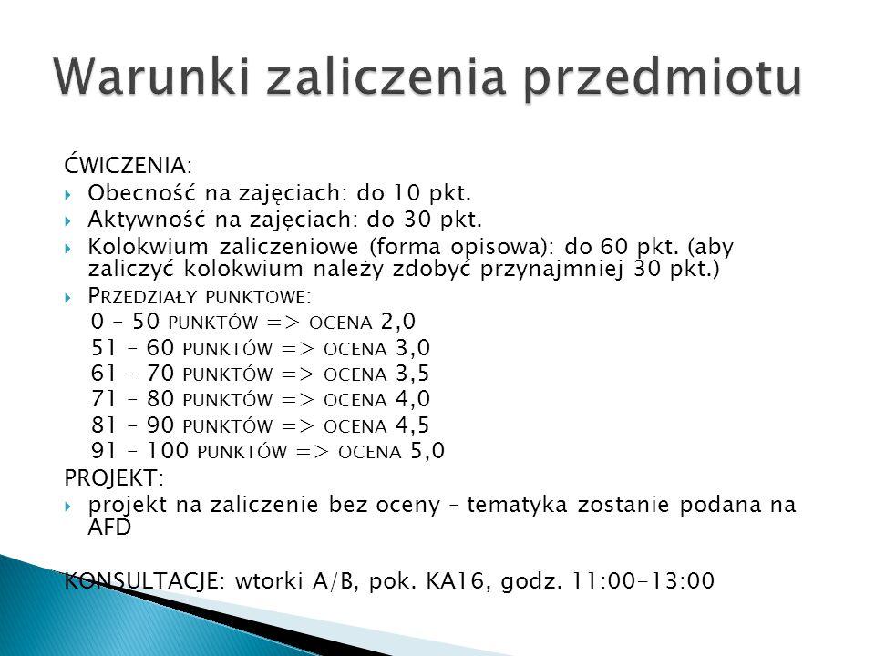 ĆWICZENIA:  Obecność na zajęciach: do 10 pkt.  Aktywność na zajęciach: do 30 pkt.  Kolokwium zaliczeniowe (forma opisowa): do 60 pkt. (aby zaliczyć