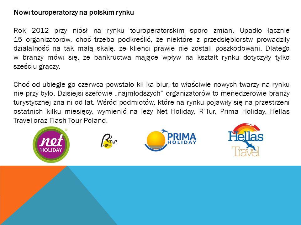 Nowi touroperatorzy na polskim rynku Rok 2012 przy niósł na rynku touroperatorskim sporo zmian. Upadło łącznie 15 organizatorów, choć trzeba podkreśli