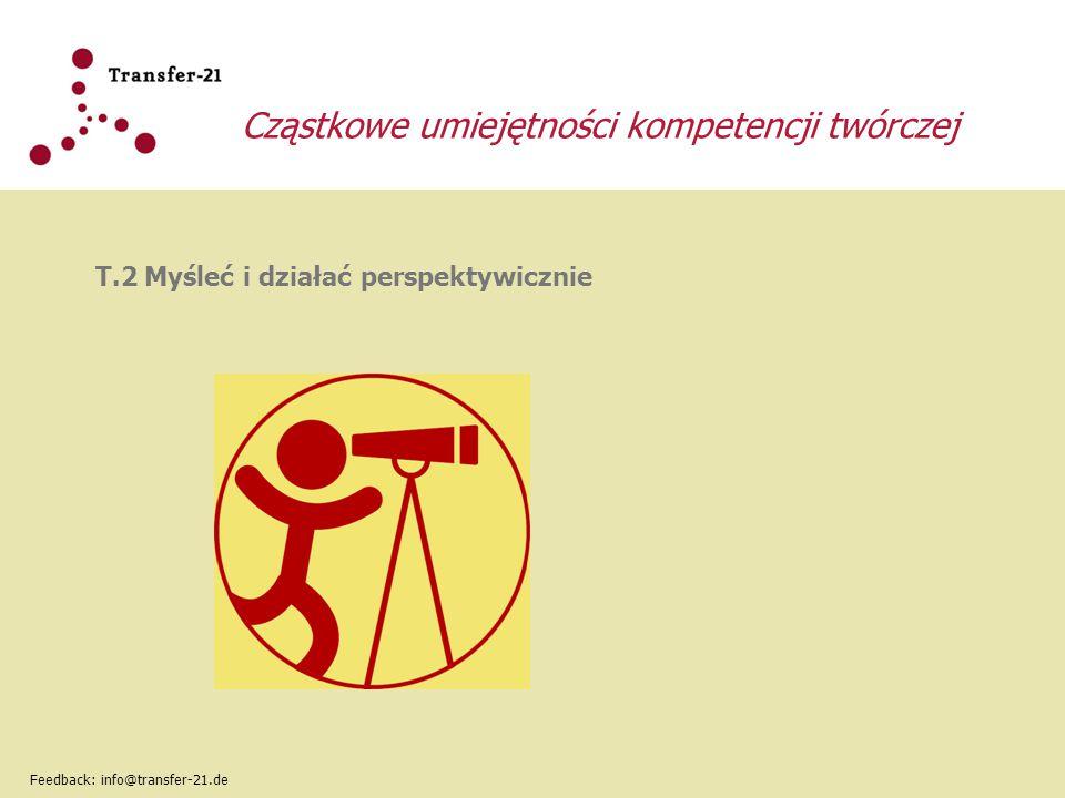 Cząstkowe umiejętności kompetencji twórczej T.2 Myśleć i działać perspektywicznie Feedback: info@transfer-21.de