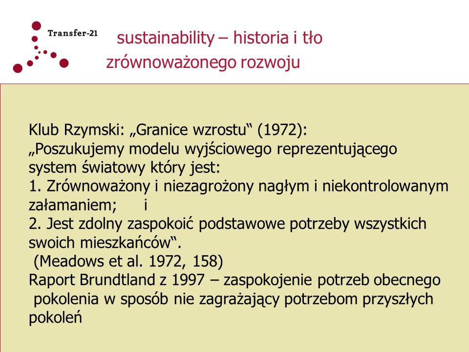 """sustainability – historia i tło zrównoważonego rozwoju Klub Rzymski: """"Granice wzrostu"""" (1972): """"Poszukujemy modelu wyjściowego reprezentującego system"""