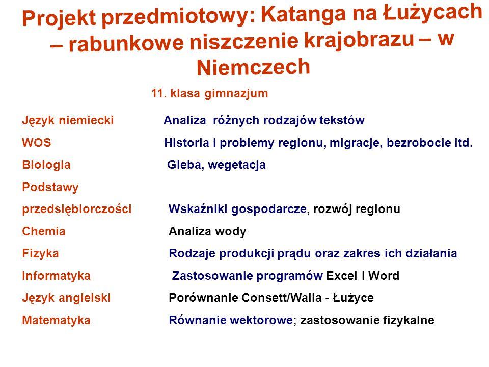 Projekt przedmiotowy: Katanga na Łużycach – rabunkowe niszczenie krajobrazu – w Niemczech 11. klasa gimnazjum Język niemiecki Analiza różnych rodzajów