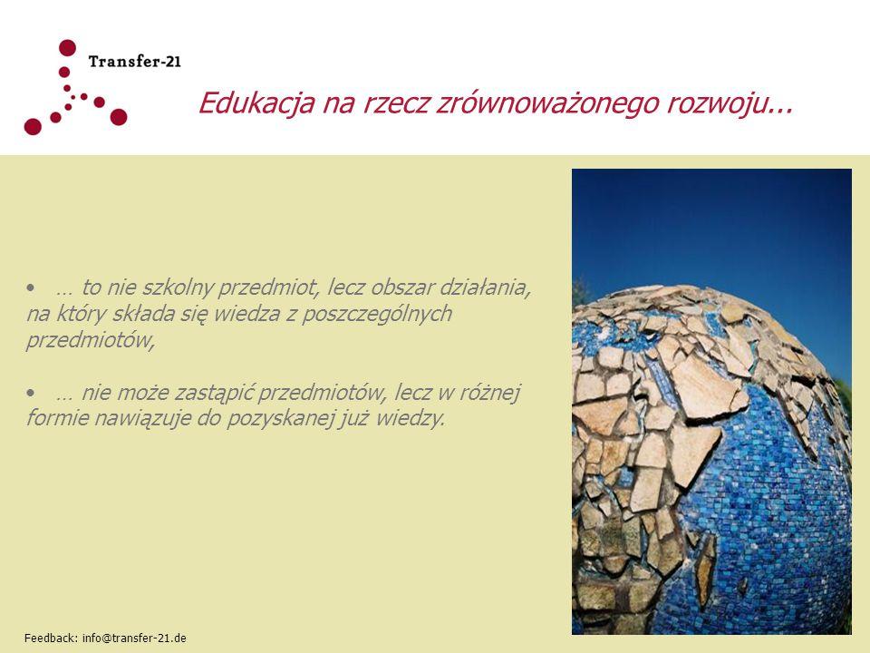 Cząstkowe umiejętności kompetencji twórczej Klasyczne pojęcie umiejętności Kategorie umiejętności wg OECD (2005) Cząstkowe umiejętności kompetencji twórczej Umiejętność w zakresie wiedzy i metody Interaktywne używanie mediów i narzędzi T.1 Rozwój wiedzy i otwarcie na świat przy włączeniu nowych perspektyw Feedback: info@transfer-21.de