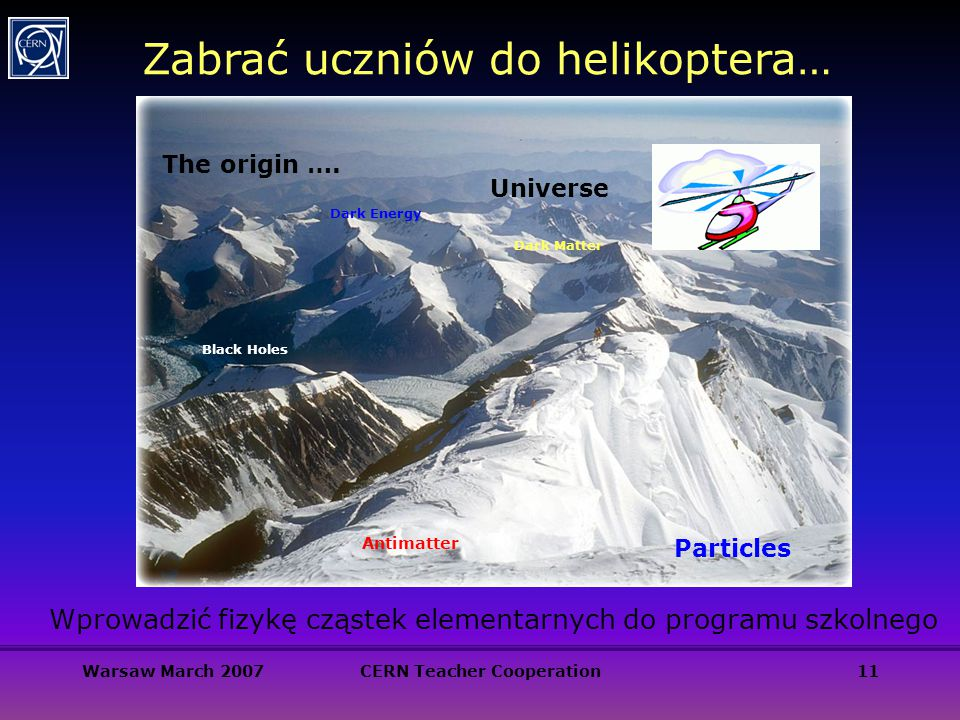 Warsaw March 2007CERN Teacher Cooperation11 Zabrać uczniów do helikoptera… The origin ….