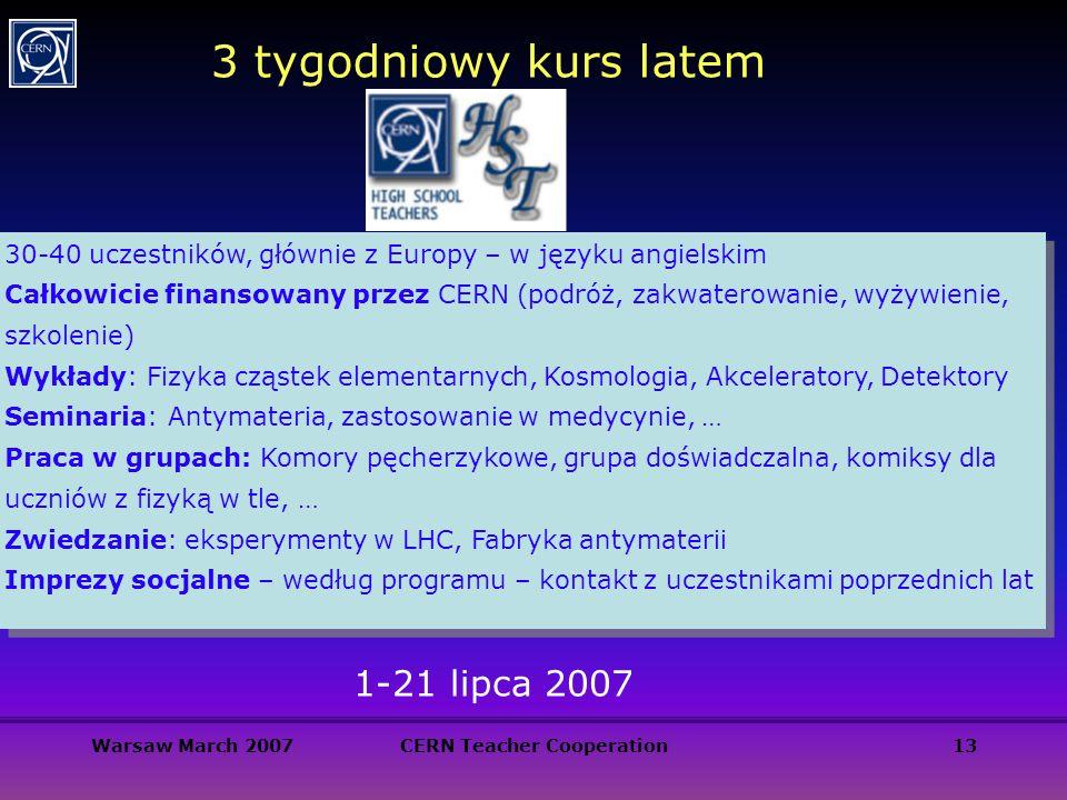 Warsaw March 2007CERN Teacher Cooperation13 3 tygodniowy kurs latem 30-40 uczestników, głównie z Europy – w języku angielskim Całkowicie finansowany p