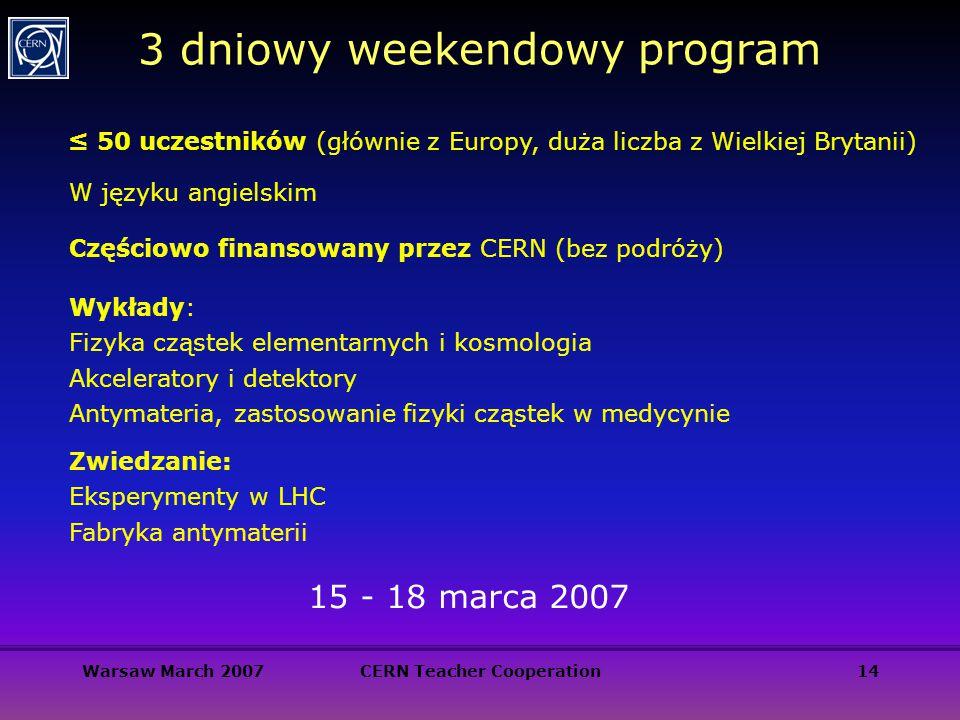 Warsaw March 2007CERN Teacher Cooperation14 3 dniowy weekendowy program ≤ 50 uczestników (głównie z Europy, duża liczba z Wielkiej Brytanii) W języku