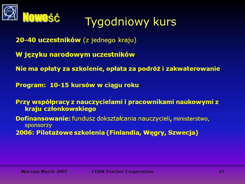 Warsaw March 2007CERN Teacher Cooperation15 Tygodniowy kurs Nowo ść 20-40 uczestników (z jednego kraju) W języku narodowym uczestników Nie ma opłaty z