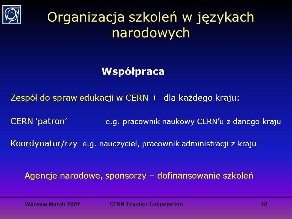 Warsaw March 2007CERN Teacher Cooperation18 Organizacja szkoleń w językach narodowych Zespół do spraw edukacji w CERN + dla każdego kraju: CERN 'patro