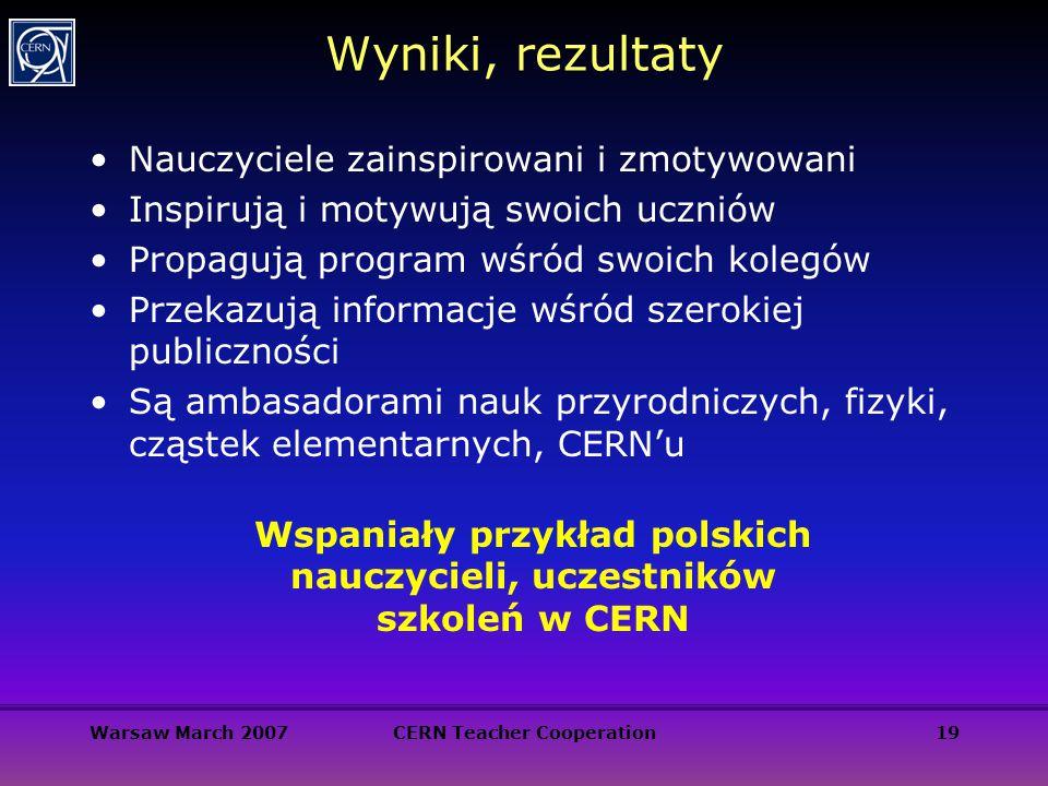 Warsaw March 2007CERN Teacher Cooperation19 Wyniki, rezultaty Nauczyciele zainspirowani i zmotywowani Inspirują i motywują swoich uczniów Propagują pr