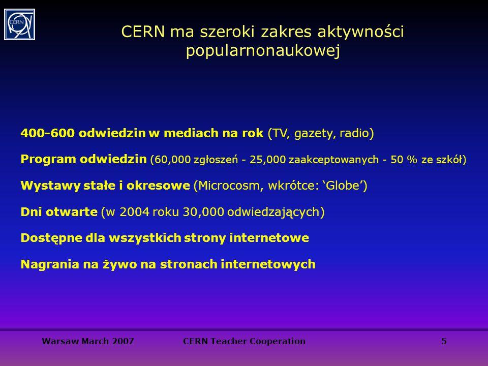 Warsaw March 2007CERN Teacher Cooperation5 CERN ma szeroki zakres aktywności popularnonaukowej 400-600 odwiedzin w mediach na rok (TV, gazety, radio)