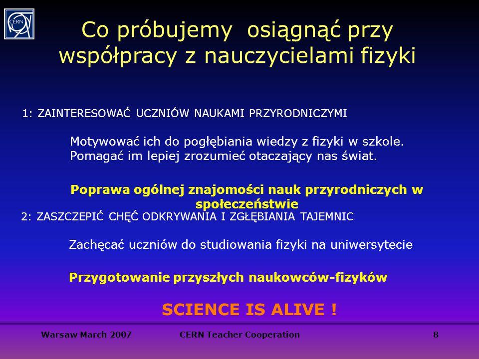 Warsaw March 2007CERN Teacher Cooperation8 Co próbujemy osiągnąć przy współpracy z nauczycielami fizyki 1: ZAINTERESOWAĆ UCZNIÓW NAUKAMI PRZYRODNICZYM