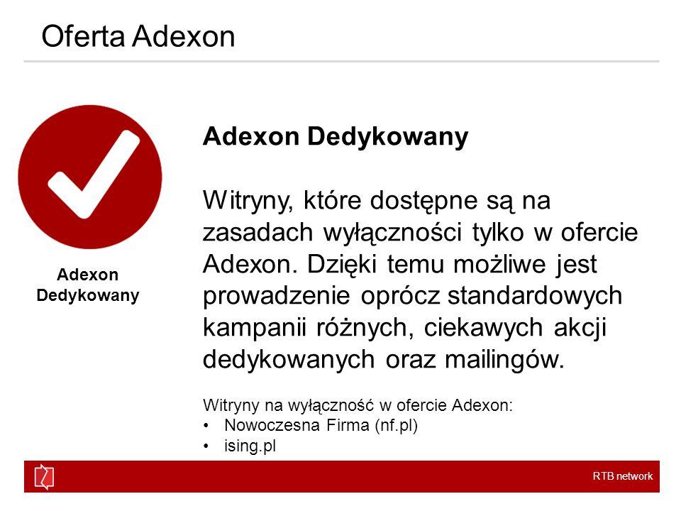 RTB network Oferta Adexon Adexon Dedykowany Witryny, które dostępne są na zasadach wyłączności tylko w ofercie Adexon.