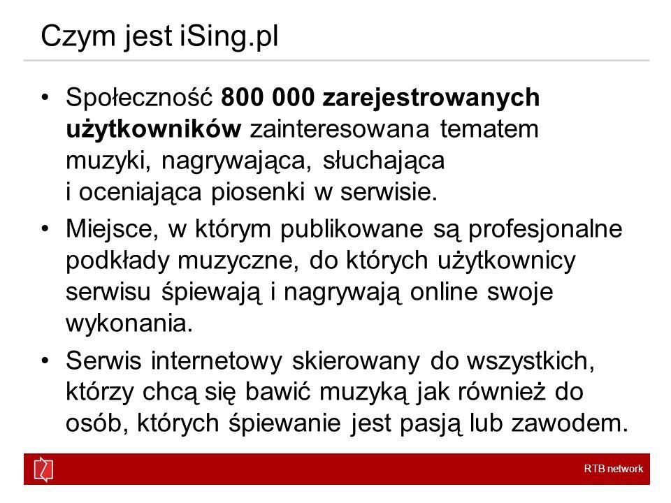 RTB network Czym jest iSing.pl Społeczność 800 000 zarejestrowanych użytkowników zainteresowana tematem muzyki, nagrywająca, słuchająca i oceniająca piosenki w serwisie.