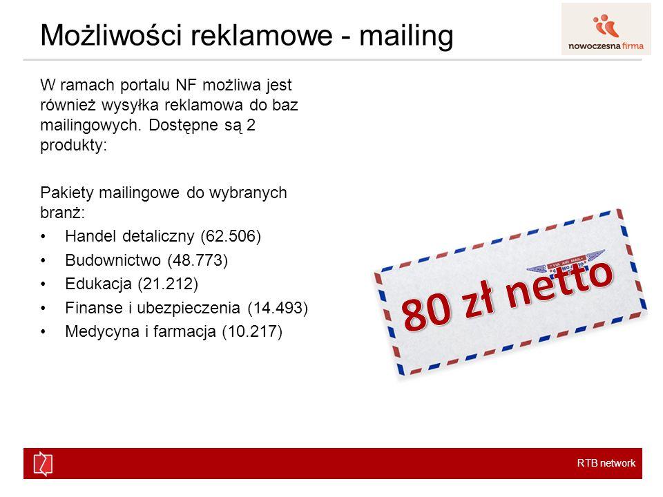 RTB network Możliwości reklamowe - mailing W ramach portalu NF możliwa jest również wysyłka reklamowa do baz mailingowych.