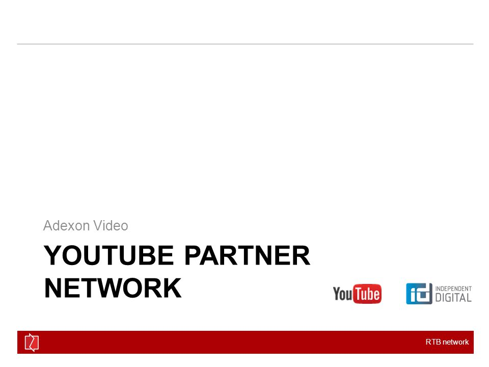 RTB network YOUTUBE PARTNER NETWORK Adexon Video
