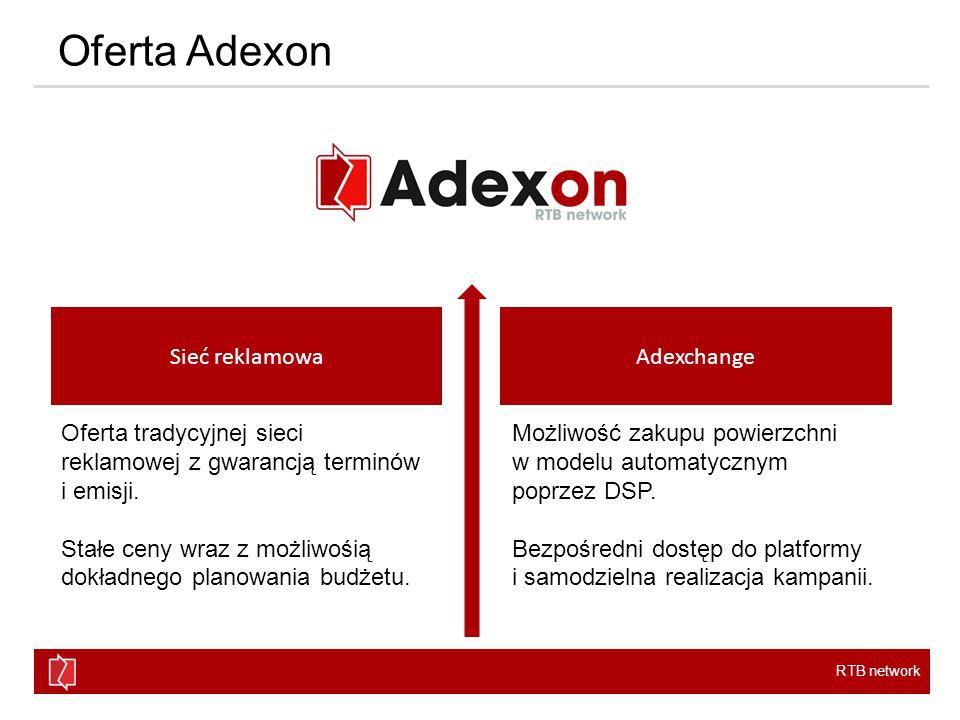 RTB network Adexon Sieć Adexon Zasięg Ogromny zasięg umożliwiający przeprowadzanie silnych i zauważalnych kampanii w modelach CPM i CPC.