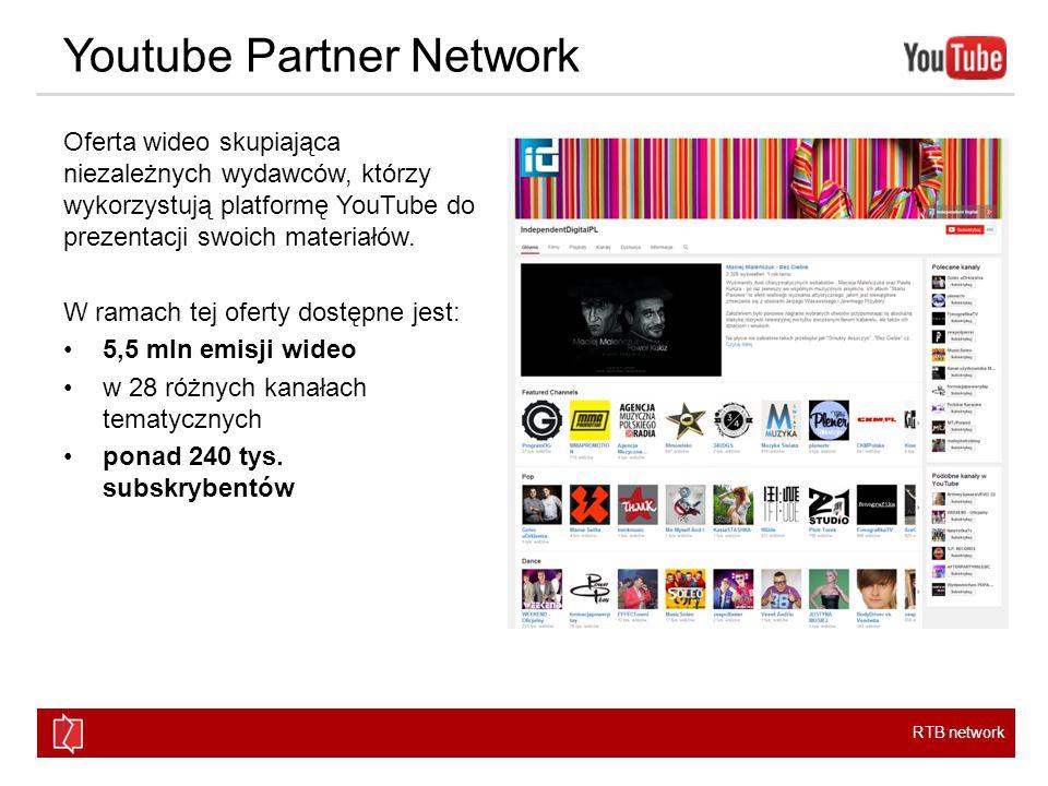 RTB network Youtube Partner Network Oferta wideo skupiająca niezależnych wydawców, którzy wykorzystują platformę YouTube do prezentacji swoich materiałów.