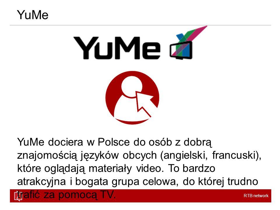 RTB network YuMe YuMe dociera w Polsce do osób z dobrą znajomością języków obcych (angielski, francuski), które oglądają materiały video.