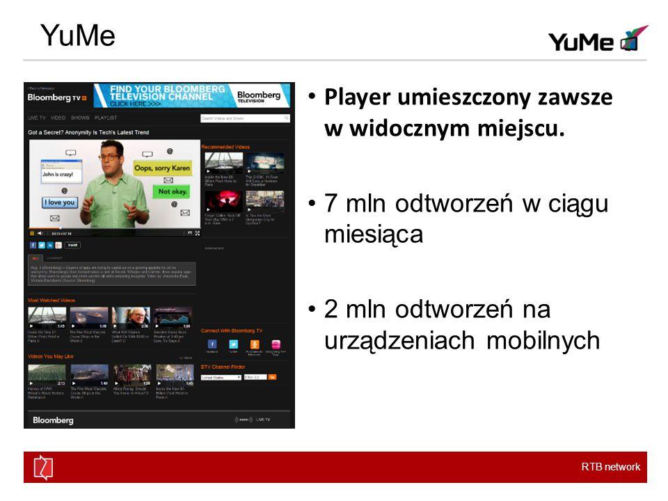RTB network YuMe Player umieszczony zawsze w widocznym miejscu.