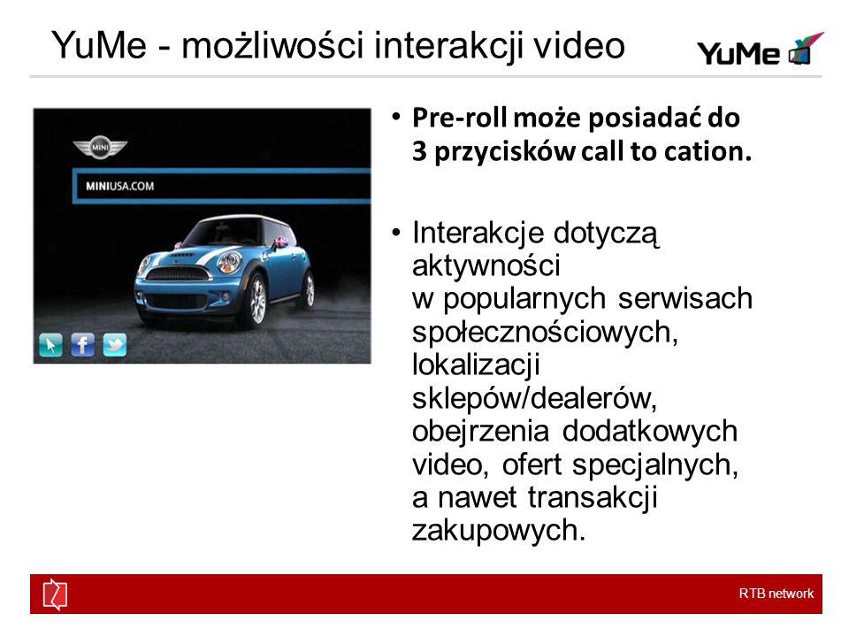 RTB network YuMe - możliwości interakcji video Pre-roll może posiadać do 3 przycisków call to cation.