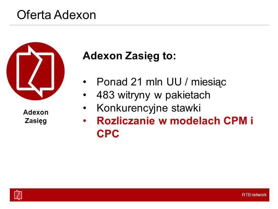 RTB network Oferta Adexon Adexon Pakiet to: 12 pakietów tematycznych W tym 2 całkowicie odświeżone Adexon Pakiet SPOŁECZNOŚCISPORTNEWSLIFESTYLEZDROWIEEDUKACJA TECHTRAVELROZRYWKABUSINESSBEAUTYMOTO