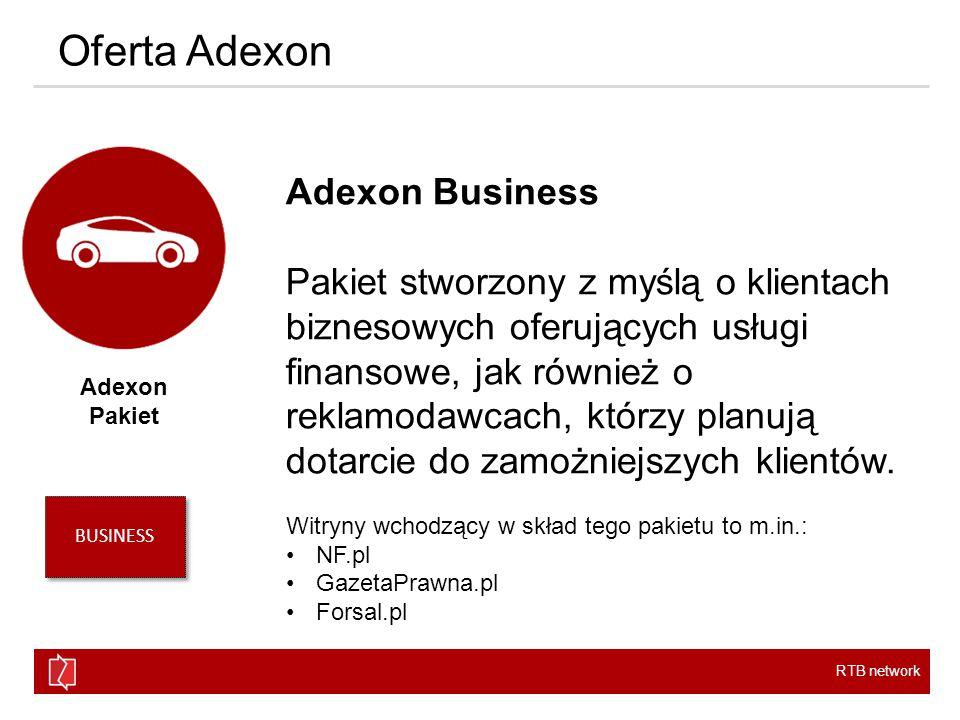 RTB network Oferta Adexon Adexon Pakiet Adexon Business Pakiet stworzony z myślą o klientach biznesowych oferujących usługi finansowe, jak również o reklamodawcach, którzy planują dotarcie do zamożniejszych klientów.