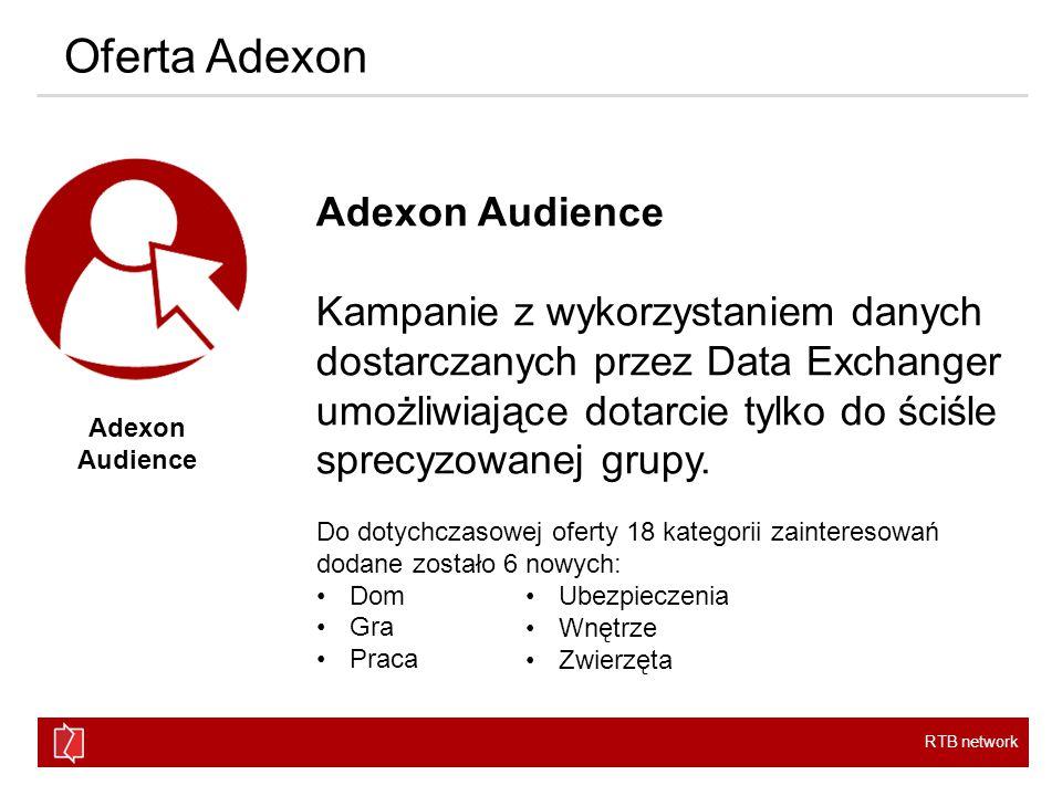 RTB network Oferta Adexon Adexon Audience Kampanie z wykorzystaniem danych dostarczanych przez Data Exchanger umożliwiające dotarcie tylko do ściśle sprecyzowanej grupy.