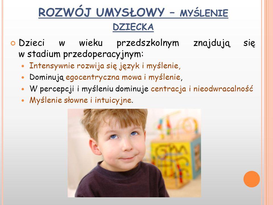 ROZWÓJ UMYSŁOWY – MYŚLENIE DZIECKA Dzieci w wieku przedszkolnym znajdują się w stadium przedoperacyjnym: Intensywnie rozwija się język i myślenie, Dom