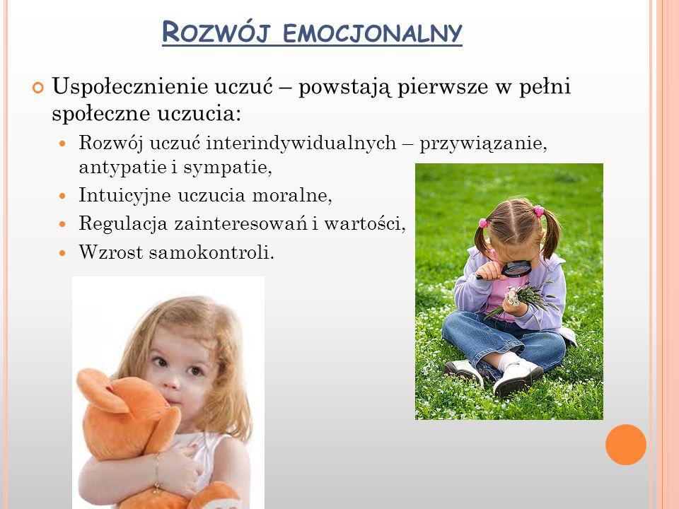 R OZWÓJ EMOCJONALNY Uspołecznienie uczuć – powstają pierwsze w pełni społeczne uczucia: Rozwój uczuć interindywidualnych – przywiązanie, antypatie i s