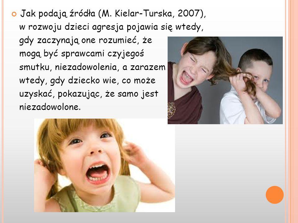 Jak podają źródła (M. Kielar-Turska, 2007), w rozwoju dzieci agresja pojawia się wtedy, gdy zaczynają one rozumieć, że mogą być sprawcami czyjegoś smu